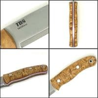 Special Edition TBS Boar Bushcraft Knife - Stabilised Curly Birch - Full Cover Sheath